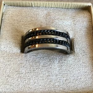 Titanium & Stainless Steel Rope Mens Ring Size 10